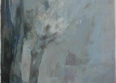 """Abelle Sauvat """" brume"""" , papier toilé sur chassis, technique mixte, huile pastel gras Dimension: 75 x65 cm"""