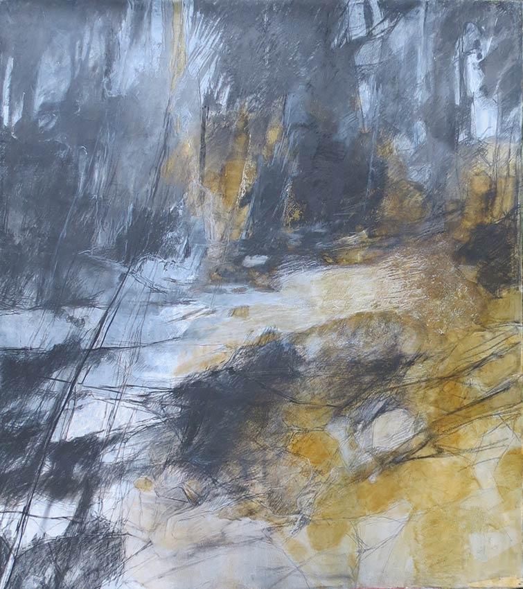 """Abelle Sauvat """"le bestiaire """" ,papier toilé sur chassis,technique mixte, shellak, fusain , huile Dimension:  85 x75 cm © APEVDC"""