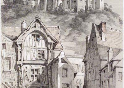 François Ignace Auguste Böhm Château de Chevreuse,dessin mine de plomb rehaussée de gouache,333mm x 146mm  1848, Collection et photo Stedeligk Muséum  Ypres Belgique