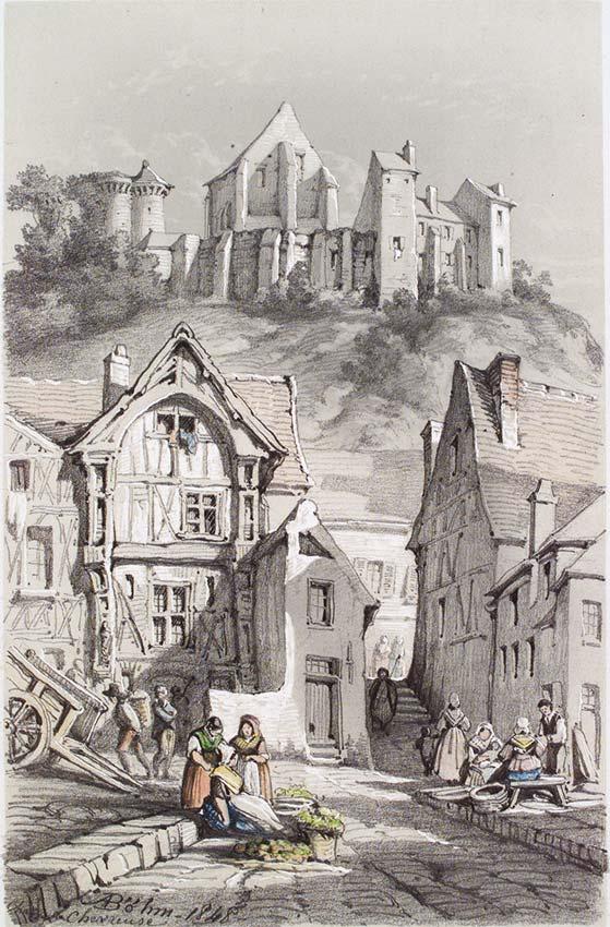 Château de Chevreuse,dessin mine de plomb rehaussée de gouache,333mm x 146mm  1848, Collection et photo Stedeligk Muséum  Ypres Belgique