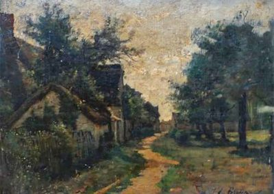 Jules Breton Une rue à Cernay, HST collée sur bois, 39 x 30 cm, collection privée, © photo M.Nogrette
