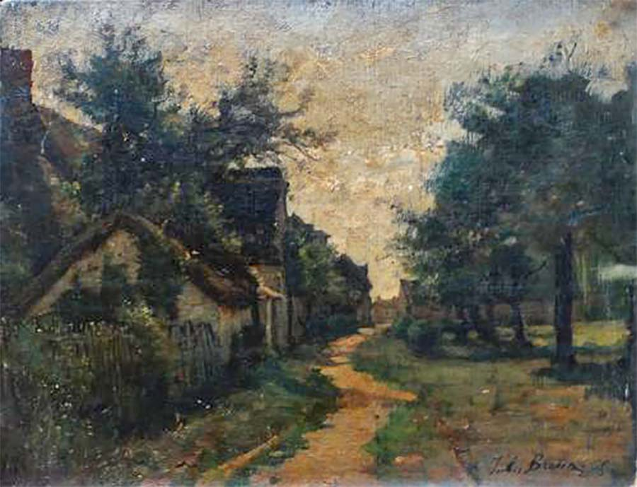 Une rue à Cernay, HST collée sur bois, 39 x 30 cm, collection privée, © photo M.Nogrette