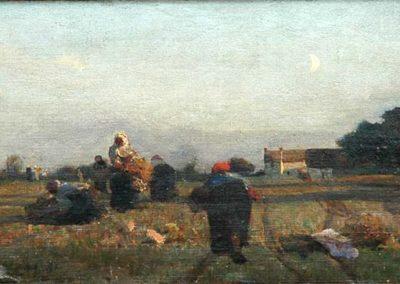 Jules Breton Glaneuses à Cernay, 1865,Huile sur toile, 17x37 cm, Boulogne-sur-Mer, Musée de Boulogne-sur-Mer © photo Musée de Boulogne-sur-Mer