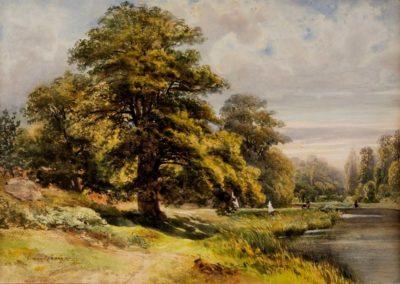 Armand Cassagne Chênes de l'étang de Cernay, aquarelle et rehauts de gouache, 40 x 46.5 cm Musée de Melun © photo Musée de Melun.