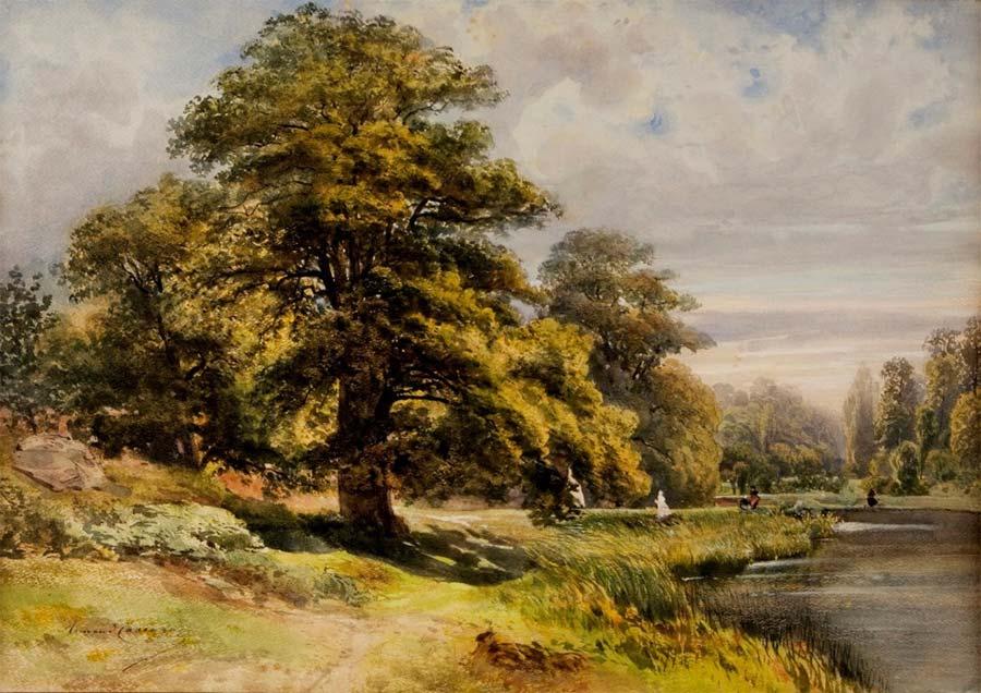 Chênes de l'étang de Cernay, aquarelle et rehauts de gouache, 40 x 46.5 cm Musée de Melun © photo Musée de Melun.