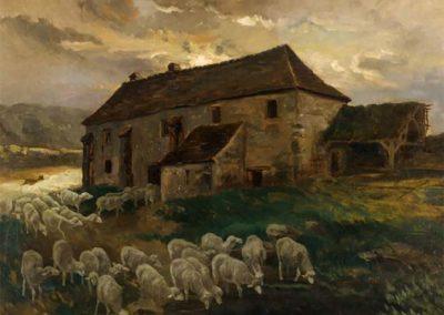 """Charles Ferdinand Sermain dit """"Ceramano"""" Petit moulin , Huile sur Panneau,75 X 40 cm  collection privée © photo Jean-Yves Lacôte"""