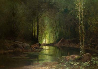 Louis Emile Dardoize La nuit verte ruisseau sous-bois, HST,1,26 m x 1,88 m, 1880. Musée des Beaux-Arts de Carcassonne inv n° 893.1.345  © photo . Musée des Beaux-Arts de Carcassonne