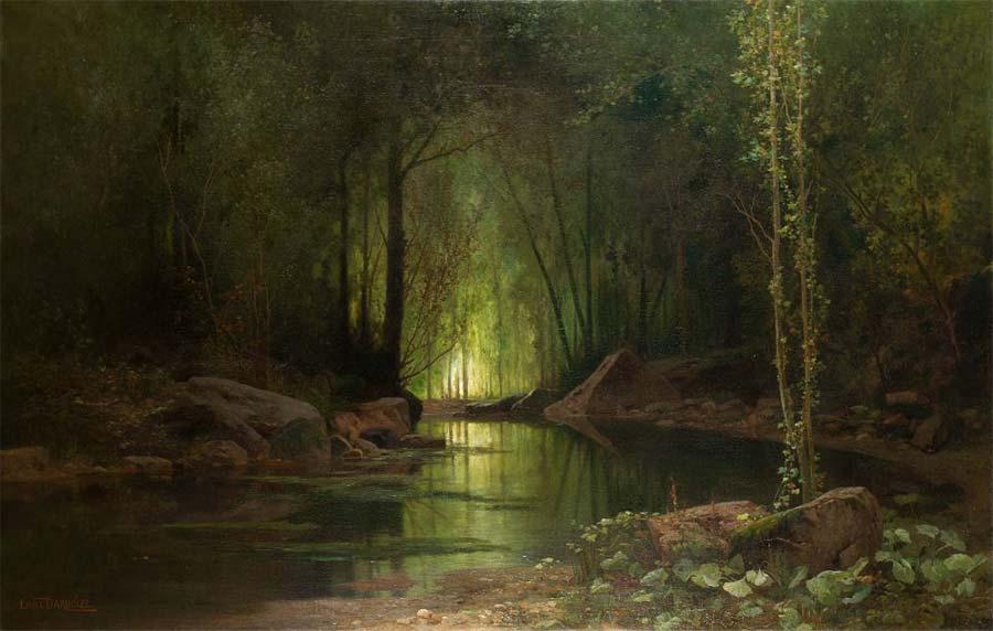 La nuit verte ruisseau sous-bois, HST,1,26 m x 1,88 m, 1880. Musée des Beaux-Arts de Carcassonne inv n° 893.1.345  © photo . Musée des Beaux-Arts de Carcassonne