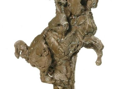 "Laurence Domenach CAVALIER  Bronze  hauteur 36 cm (base 22,5 cm X  13  cm 1er Prix de sculpture au 17e Salon International  ""ART Cheval"" de Saumur 2009© photo APEVDC"