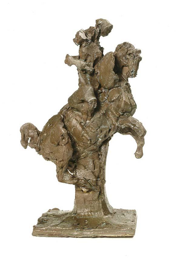 """Laurence Domenach CAVALIER  Bronze  hauteur 36 cm (base 22,5 cm X  13  cm 1er Prix de sculpture au 17e Salon International  """"ART Cheval"""" de Saumur 2009© photo APEVDC"""