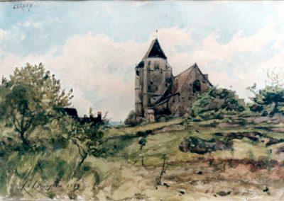 Henri Harpignies Eglise de Cernay ( Saint Brice),aquarelle, 15 x20 cm, 1863 Petit Moulin des vaux de Cernay © photo APEVDC