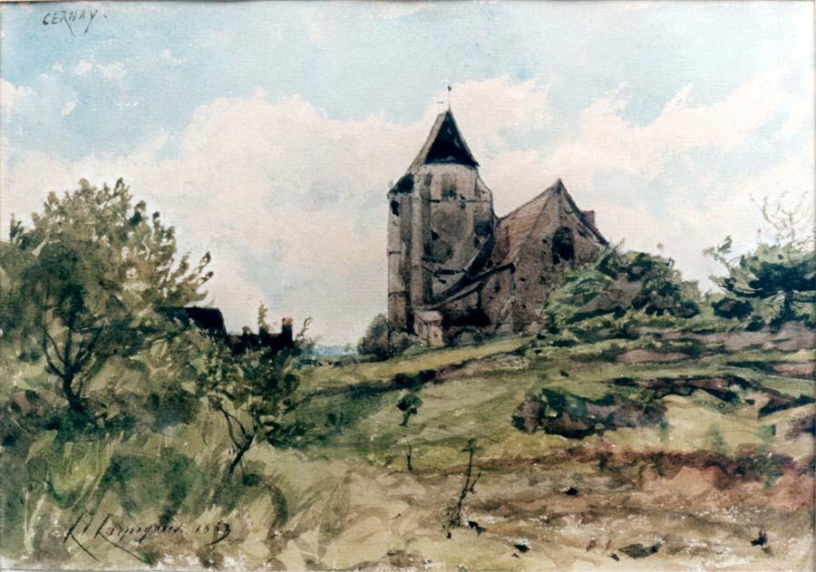 Eglise de Cernay ( Saint Brice),aquarelle, 15 x20 cm, 1863 Petit Moulin des vaux de Cernay © photo APEVDC
