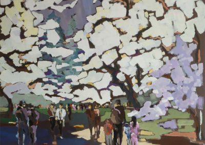 Nicole Motte Sous un ciel de cerisiers blancs Gouache 80 x 80 cm© photo APEVDC