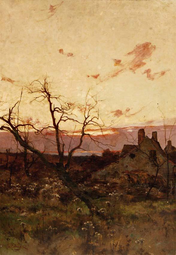 Les environs de Claire Fontaine, HST 120 cm x 60 cm (tableau préparatoire au tableau intitulé « Le soir près de la ferme » Salon 1885   © photo APEVDC