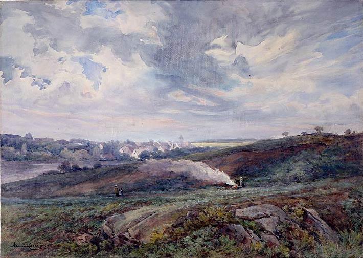 Vue de Cernay-la-Ville, aquarelle rehaussée de gouache ,38 x55 cm, 1863 © photo APEVDC