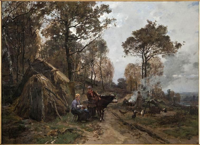 Emile Dameron : Cabane de bûcherons dans la vallée des Vaux-de-Cernay, en 1881 © Paris, musée d'Orsay, déposé à l'Assemblée nationale, Paris en 1927