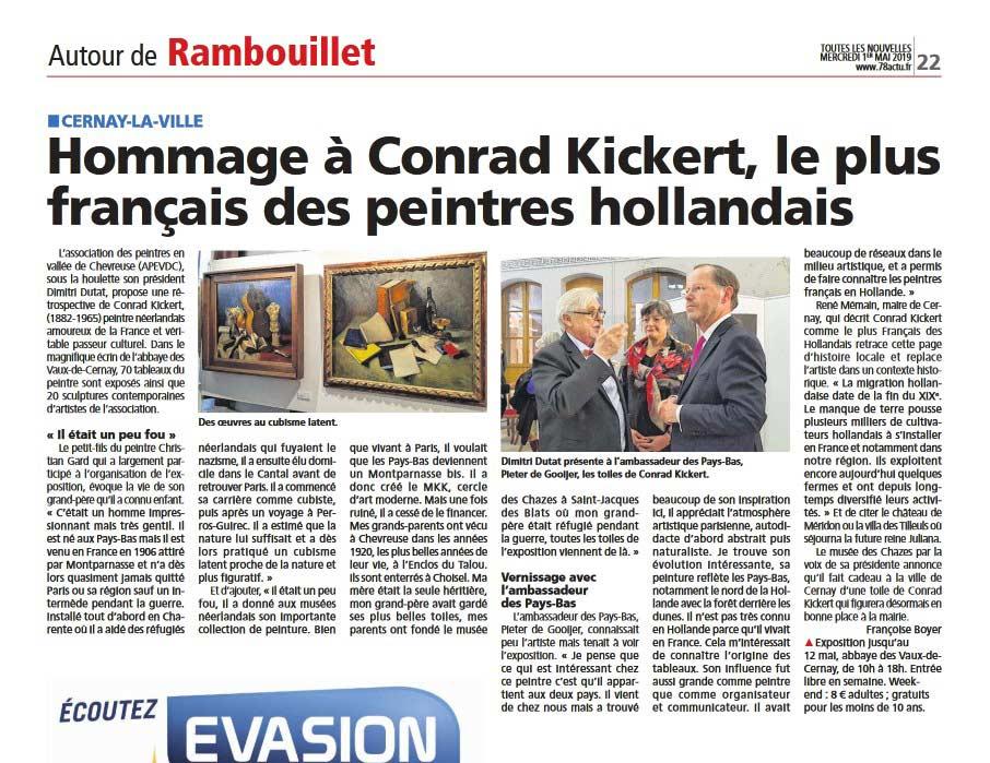 Article de presse sur l'Exposition Conrad Kickert à l'Abbaye des Vaux de Cernay