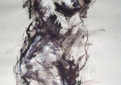 Signal vital, Technique mixte sur papier, 65x50cm Izloda Pietrusiak