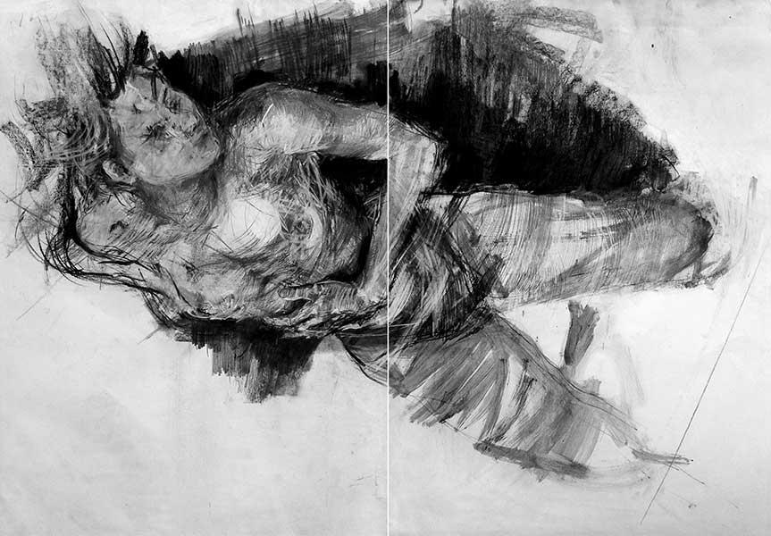 Suspendue, Dessin sur papier en deux parties, 100x140cm Izolda Pietrusiak